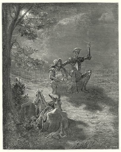"""""""In such discourses they passed a great part of the night."""" Illustration for The History of Don Quixote by Cervantes (Cassell, c 1880).  Images scanned at high resolution and digitally cleaned to permit repro at large size if necessary."""