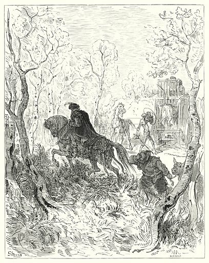 """He posted himself just before the door of the cage."" Illustration for The History of Don Quixote by Cervantes (Cassell, c 1880).  Images scanned at high resolution and digitally cleaned to permit repro at large size if necessary."