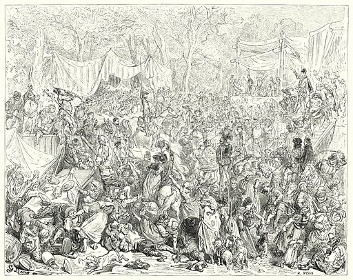 """""""Arrival of Don Quixote at the wedding of Camacho and Quiteria."""" Illustration for The History of Don Quixote by Cervantes (Cassell, c 1880).  Images scanned at high resolution and digitally cleaned to permit repro at large size if necessary."""