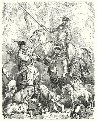 """""""Make shift to stay your stomach with that till dinner be ready."""" Illustration for The History of Don Quixote by Cervantes (Cassell, c 1880).  Images scanned at high resolution and digitally cleaned to permit repro at large size if necessary."""