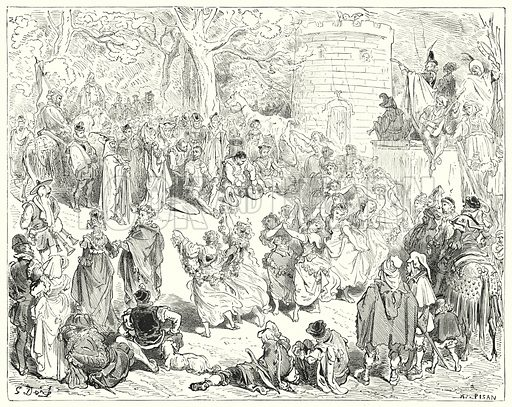 """""""They were led up by a reverend old man and a matronly woman."""" Illustration for The History of Don Quixote by Cervantes (Cassell, c 1880).  Images scanned at high resolution and digitally cleaned to permit repro at large size if necessary."""