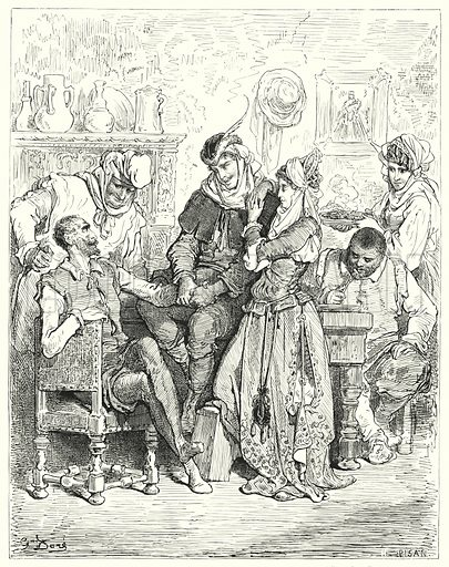 """""""Sancho and his master tarried three days with young couple, and were entertained like princes."""" Illustration for The History of Don Quixote by Cervantes (Cassell, c 1880).  Images scanned at high resolution and digitally cleaned to permit repro at large size if necessary."""