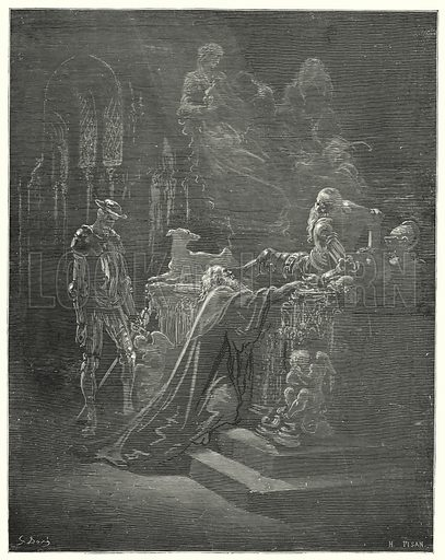 """""""The venerable Montesinos fell on his knees before the afflicted knight."""" Illustration for The History of Don Quixote by Cervantes (Cassell, c 1880).  Images scanned at high resolution and digitally cleaned to permit repro at large size if necessary."""