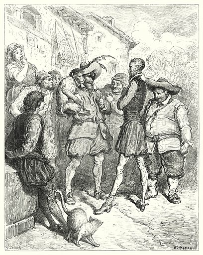 """""""At these words Don Quixote stood amazed."""" Illustration for The History of Don Quixote by Cervantes (Cassell, c 1880).  Images scanned at high resolution and digitally cleaned to permit repro at large size if necessary."""