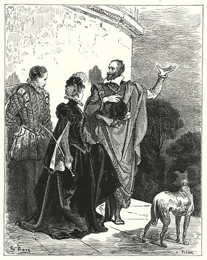 """He acquainted the duke and duchess with his sentiments, and begged their leave to depart."" Illustration for The History of Don Quixote by Cervantes (Cassell, c 1880).  Images scanned at high resolution and digitally cleaned to permit repro at large size if necessary."