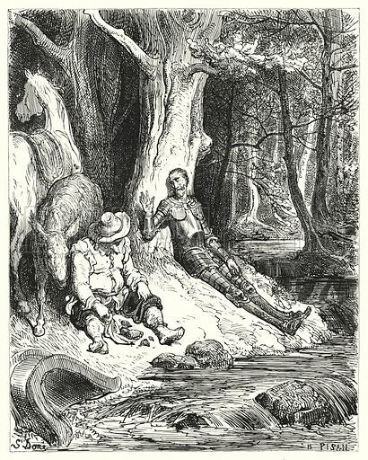 """""""A clear fountain, which Don Quixote and Sancho found among some verdant trees, served to refresh them."""" Illustration for The History of Don Quixote by Cervantes (Cassell, c 1880).  Images scanned at high resolution and digitally cleaned to permit repro at large size if necessary."""