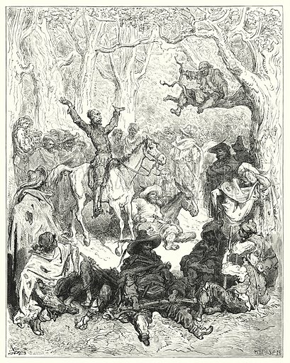 """""""Don Quixote, mounted on Rozinante, declaiming very copiously against their way of living."""" Illustration for The History of Don Quixote by Cervantes (Cassell, c 1880).  Images scanned at high resolution and digitally cleaned to permit repro at large size if necessary."""