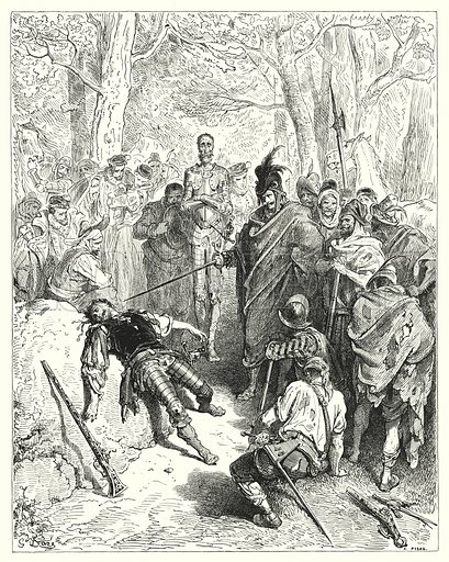 """""""'Thus it is I punish mutiny', said he."""" Illustration for The History of Don Quixote by Cervantes (Cassell, c 1880).  Images scanned at high resolution and digitally cleaned to permit repro at large size if necessary."""