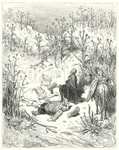 """""""'Sleep, Sancho,' cried Don Quixote: 'sleep, for thou wert born to sleep.'"""" Illustration for The History of Don Quixote by Cervantes (Cassell, c 1880).  Images scanned at high resolution and digitally cleaned to permit repro at large size if necessary."""