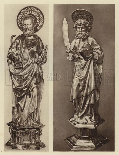Wohrd bei Nurnberg, St Bartholomaus; Aachen, St Petrus. Illustration for Deutsche Goldschmiedeplastik by Edwin Redslob (Delphin-Verlag, 1922).