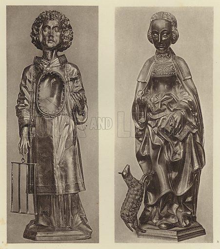 Munster i W, Die heilige Agnes; Minden, St Laurentius. Illustration for Deutsche Goldschmiedeplastik by Edwin Redslob (Delphin-Verlag, 1922).