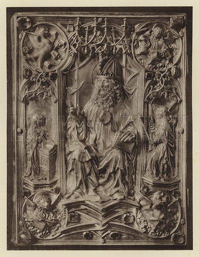 Wien, Schatzkammer, Das Reichsevangeliar. Illustration for Deutsche Goldschmiedeplastik by Edwin Redslob (Delphin-Verlag, 1922).