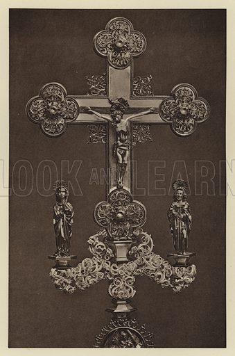 Mergentheim, Reliquienkreuz. Illustration for Deutsche Goldschmiedeplastik by Edwin Redslob (Delphin-Verlag, 1922).