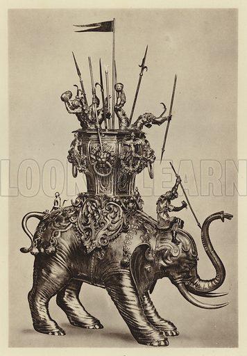 Berlin, Kunstgewerbemuseum, Elefant von Christoph Jamnitzer. Illustration for Deutsche Goldschmiedeplastik by Edwin Redslob (Delphin-Verlag, 1922).