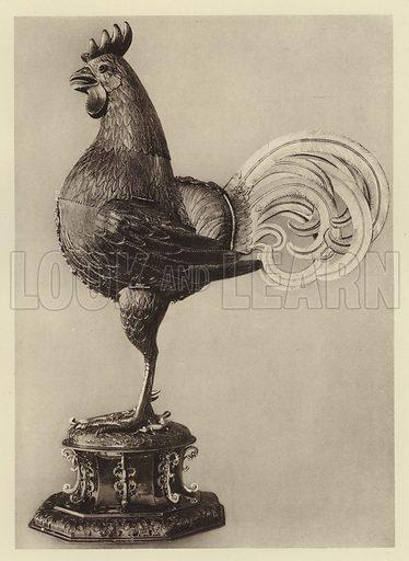 Munster i W, Der silberne Hahn. Illustration for Deutsche Goldschmiedeplastik by Edwin Redslob (Delphin-Verlag, 1922).