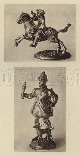 Munchen, Nationalmuseum, Postreiter und Jager. Illustration for Deutsche Goldschmiedeplastik by Edwin Redslob (Delphin-Verlag, 1922).