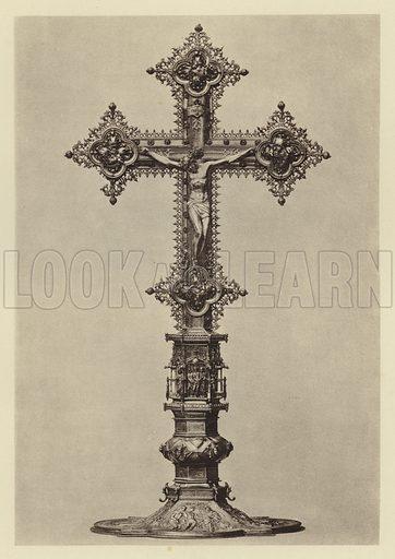 Herdringen, Altarkreuz von Anton Eisenhoit. Illustration for Deutsche Goldschmiedeplastik by Edwin Redslob (Delphin-Verlag, 1922).