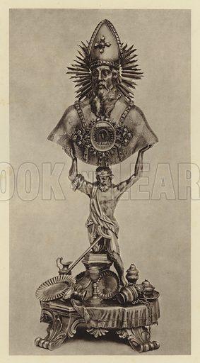 Wien, Reliquienbuste des heiligen Eligius. Illustration for Deutsche Goldschmiedeplastik by Edwin Redslob (Delphin-Verlag, 1922).