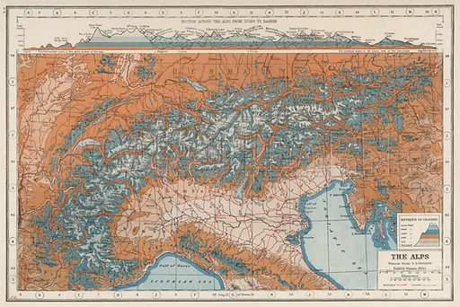 The Alps. Illustration for Harmsworth's Atlas of the World and Pictorial Gazetteer edited by J A Hamerton (Amalgamated Press, c 1921).