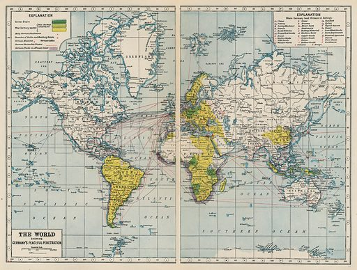 The World, showing Germany's Peaceful Penetration. Illustration for Harmsworth's Atlas of the World and Pictorial Gazetteer edited by J A Hamerton (Amalgamated Press, c 1921).