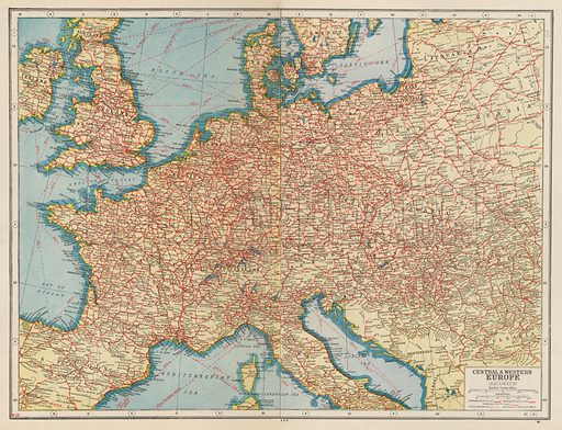 Central and Western Europe, Railways. Illustration for Harmsworth's Atlas of the World and Pictorial Gazetteer edited by J A Hamerton (Amalgamated Press, c 1921).