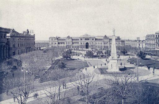 Plaza De Mayo. Illustration for Buenos Aires Moderno (Libreria Inglesa, Monqaut e Casquez Millan, c 1903).