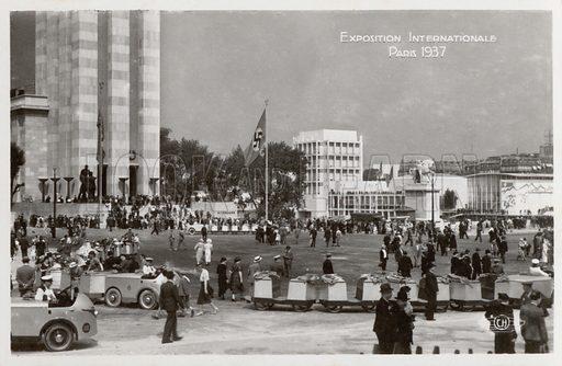 Vue Generale Place De Varsovie. Illustration for a booklet of 10 photos, Exposition Internationale Des Arts Et Techniques, Paris, 1937.  Photo credit: SAP, 12 Rue Henner, Paris 9.