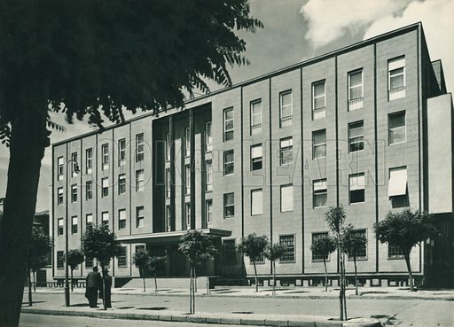 Cumhuriyet Merkez Bankasi, National Bank of Turkey. Illustration for Fotografla Turkiye [ie Turkey in Pictures] published by The General Direction of The Press, Ankara, c 1930.  Photographs provided by Orthmar Pferschy (1898-1984).  It is not clear whether or not all the photos are by Pferschy, or whether or not the copyright was acquired by the State.  Gravure printed.