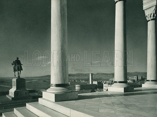 Etnografya Muzesinden bir bakis, View from the Ethnographic Museum. Illustration for Fotografla Turkiye [ie Turkey in Pictures] published by The General Direction of The Press, Ankara, c 1930.  Photographs provided by Orthmar Pferschy (1898-1984).  It is not clear whether or not all the photos are by Pferschy, or whether or not the copyright was acquired by the State.  Gravure printed.