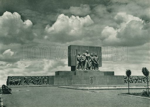 Emniyet Abidesinin diger yani, One of the Facades of the Monument of Safety. Illustration for Fotografla Turkiye [ie Turkey in Pictures] published by The General Direction of The Press, Ankara, c 1930.  Photographs provided by Orthmar Pferschy (1898-1984).  It is not clear whether or not all the photos are by Pferschy, or whether or not the copyright was acquired by the State.  Gravure printed.
