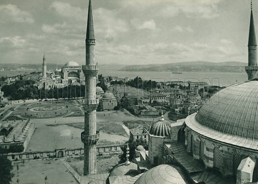 Sultan Ahmed'den Ayasofya'ya bakis, View of the Ayasofya from the Sultan Ahmet Mosque. Illustration for Fotografla Turkiye [ie Turkey in Pictures] published by The General Direction of The Press, Ankara, c 1930.  Photographs provided by Orthmar Pferschy (1898-1984).  It is not clear whether or not all the photos are by Pferschy, or whether or not the copyright was acquired by the State.  Gravure printed.