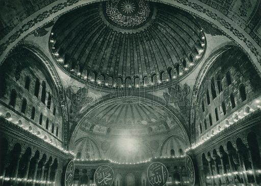 Ayasofyanin kubbesi, Interior of the dome of Ayasofya. Illustration for Fotografla Turkiye [ie Turkey in Pictures] published by The General Direction of The Press, Ankara, c 1930.  Photographs provided by Orthmar Pferschy (1898-1984).  It is not clear whether or not all the photos are by Pferschy, or whether or not the copyright was acquired by the State.  Gravure printed.