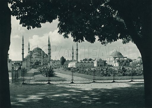 Sultan Ahmed camii, The Sultan Ahmet Mosque. Illustration for Fotografla Turkiye [ie Turkey in Pictures] published by The General Direction of The Press, Ankara, c 1930.  Photographs provided by Orthmar Pferschy (1898-1984).  It is not clear whether or not all the photos are by Pferschy, or whether or not the copyright was acquired by the State.  Gravure printed.