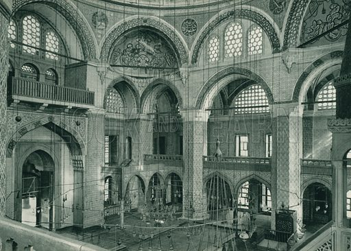Rustempasa camii, Interior of the Rustempasa Mosque. Illustration for Fotografla Turkiye [ie Turkey in Pictures] published by The General Direction of The Press, Ankara, c 1930.  Photographs provided by Orthmar Pferschy (1898-1984).  It is not clear whether or not all the photos are by Pferschy, or whether or not the copyright was acquired by the State.  Gravure printed.