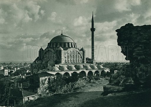 Mihrimah camii, The Mihrimah Mosque. Illustration for Fotografla Turkiye [ie Turkey in Pictures] published by The General Direction of The Press, Ankara, c 1930.  Photographs provided by Orthmar Pferschy (1898-1984).  It is not clear whether or not all the photos are by Pferschy, or whether or not the copyright was acquired by the State.  Gravure printed.
