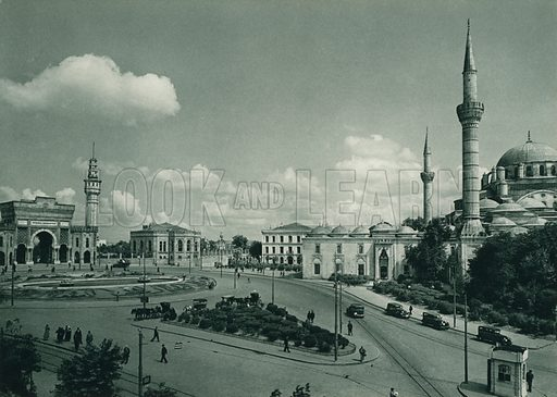 Beyazid meydani, The Beyazid Square. Illustration for Fotografla Turkiye [ie Turkey in Pictures] published by The General Direction of The Press, Ankara, c 1930.  Photographs provided by Orthmar Pferschy (1898-1984).  It is not clear whether or not all the photos are by Pferschy, or whether or not the copyright was acquired by the State.  Gravure printed.