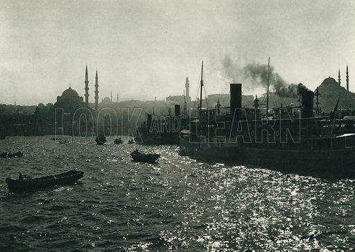 Mehtapda Istanbul, Moonlight in Istanbul. Illustration for Fotografla Turkiye [ie Turkey in Pictures] published by The General Direction of The Press, Ankara, c 1930.  Photographs provided by Orthmar Pferschy (1898-1984).  It is not clear whether or not all the photos are by Pferschy, or whether or not the copyright was acquired by the State.  Gravure printed.