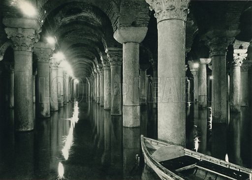 Binbirdirek, The Subterranean thousand and one columns, Cistern. Illustration for Fotografla Turkiye [ie Turkey in Pictures] published by The General Direction of The Press, Ankara, c 1930.  Photographs provided by Orthmar Pferschy (1898-1984).  It is not clear whether or not all the photos are by Pferschy, or whether or not the copyright was acquired by the State.  Gravure printed.