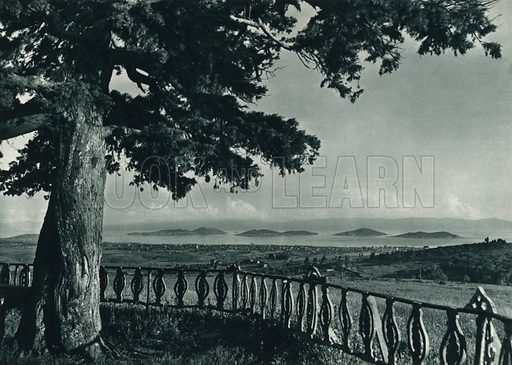 Camlicadan Marmara'ya bir bakis, View of the Prince's Islands from Camlica. Illustration for Fotografla Turkiye [ie Turkey in Pictures] published by The General Direction of The Press, Ankara, c 1930.  Photographs provided by Orthmar Pferschy (1898-1984).  It is not clear whether or not all the photos are by Pferschy, or whether or not the copyright was acquired by the State.  Gravure printed.