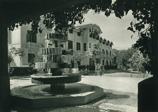 Yalova'da otel, An Hotel near the Sulphur-Thermal Baths at Yalova. Illustration for Fotografla Turkiye [ie Turkey in Pictures] published by The General Direction of The Press, Ankara, c 1930.  Photographs provided by Orthmar Pferschy (1898-1984).  It is not clear whether or not all the photos are by Pferschy, or whether or not the copyright was acquired by the State.  Gravure printed.