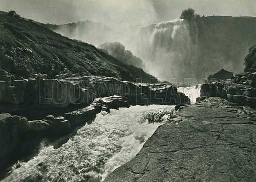Tortum selalesi, Waterfalls near Tortum. Illustration for Fotografla Turkiye [ie Turkey in Pictures] published by The General Direction of The Press, Ankara, c 1930.  Photographs provided by Orthmar Pferschy (1898-1984).  It is not clear whether or not all the photos are by Pferschy, or whether or not the copyright was acquired by the State.  Gravure printed.