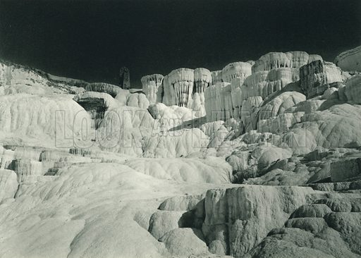 Pamukkale, Calcareous Deposits near Pamukkale. Illustration for Fotografla Turkiye [ie Turkey in Pictures] published by The General Direction of The Press, Ankara, c 1930.  Photographs provided by Orthmar Pferschy (1898-1984).  It is not clear whether or not all the photos are by Pferschy, or whether or not the copyright was acquired by the State.  Gravure printed.