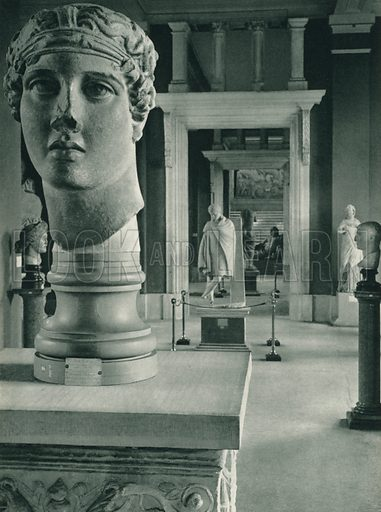 Afrodit ve Efeb, Arkeoloji muzesi, Istanbul, Aphrodite and Ephebus, Archaeological Museum, Istanbul. Illustration for Fotografla Turkiye [ie Turkey in Pictures] published by The General Direction of The Press, Ankara, c 1930.  Photographs provided by Orthmar Pferschy (1898-1984).  It is not clear whether or not all the photos are by Pferschy, or whether or not the copyright was acquired by the State.  Gravure printed.