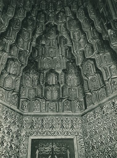 Yesil camiden, Part of the Dome of the Green Mosque at Bursa. Illustration for Fotografla Turkiye [ie Turkey in Pictures] published by The General Direction of The Press, Ankara, c 1930.  Photographs provided by Orthmar Pferschy (1898-1984).  It is not clear whether or not all the photos are by Pferschy, or whether or not the copyright was acquired by the State.  Gravure printed.