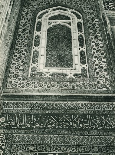 Yesil caminin cinileri, Faiences of the Green Mosque at Bursa. Illustration for Fotografla Turkiye [ie Turkey in Pictures] published by The General Direction of The Press, Ankara, c 1930.  Photographs provided by Orthmar Pferschy (1898-1984).  It is not clear whether or not all the photos are by Pferschy, or whether or not the copyright was acquired by the State.  Gravure printed.