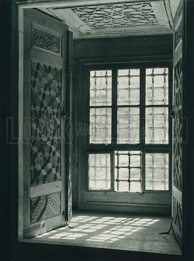 Yesil caminin penceresi, A Window of the Green Mosque at Bursa. Illustration for Fotografla Turkiye [ie Turkey in Pictures] published by The General Direction of The Press, Ankara, c 1930.  Photographs provided by Orthmar Pferschy (1898-1984).  It is not clear whether or not all the photos are by Pferschy, or whether or not the copyright was acquired by the State.  Gravure printed.