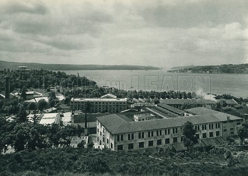 Deri ve kundura fabrikasi, Beykoz-Istanbul, Leather and Shoe Factory, Beykoz-Istanbul. Illustration for Fotografla Turkiye [ie Turkey in Pictures] published by The General Direction of The Press, Ankara, c 1930.  Photographs provided by Orthmar Pferschy (1898-1984).  It is not clear whether or not all the photos are by Pferschy, or whether or not the copyright was acquired by the State.  Gravure printed.