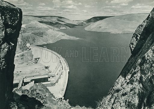 Cubuk baraji, Ankara, The Cubuk Dam across the Valley in the vicinity of Ankara. Illustration for Fotografla Turkiye [ie Turkey in Pictures] published by The General Direction of The Press, Ankara, c 1930.  Photographs provided by Orthmar Pferschy (1898-1984).  It is not clear whether or not all the photos are by Pferschy, or whether or not the copyright was acquired by the State.  Gravure printed.