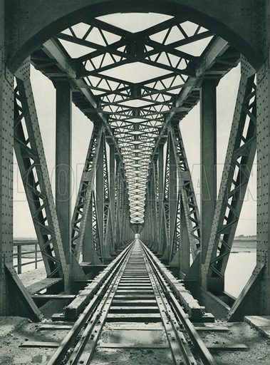 Bir demiryolu koprusu, A Railway-Bridge near Adana. Illustration for Fotografla Turkiye [ie Turkey in Pictures] published by The General Direction of The Press, Ankara, c 1930.  Photographs provided by Orthmar Pferschy (1898-1984).  It is not clear whether or not all the photos are by Pferschy, or whether or not the copyright was acquired by the State.  Gravure printed.