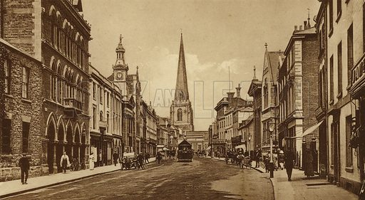 Broad Street, Hereford. Illustration for Souvenir of Hereford (np, c 1910).  Gravure printed.